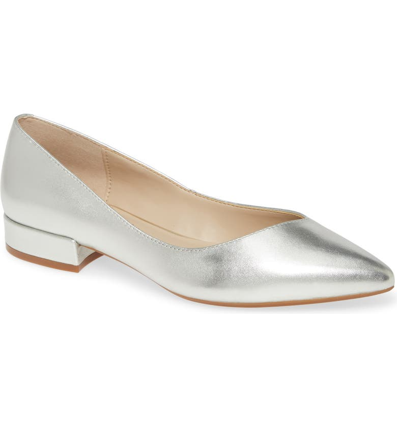 KENNETH COLE NEW YORK Camelia Flat, Main, color, PLATINUM LEATHER