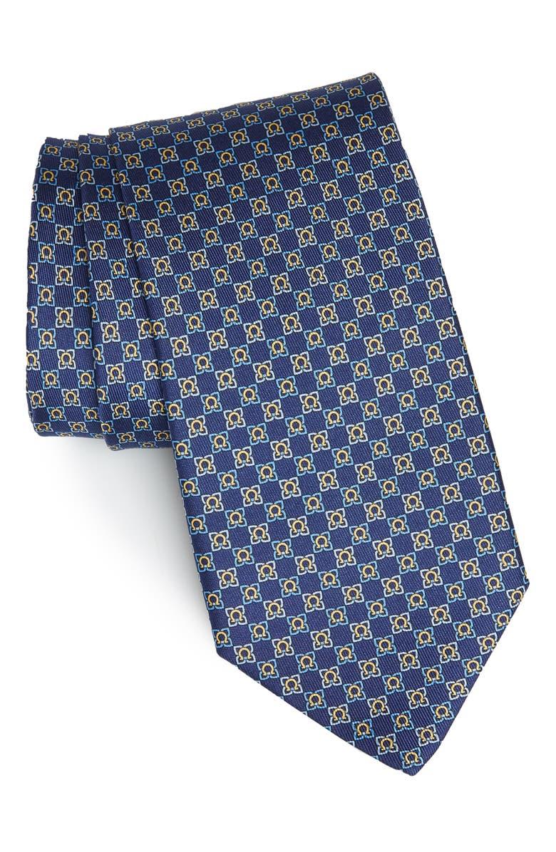 Genzian Print Silk Tie by Salvatore Ferragamo