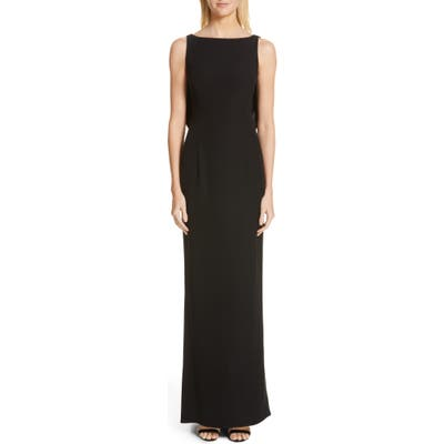 Emporio Armani Satin Bow Back Trumpet Gown, 8 IT - Black