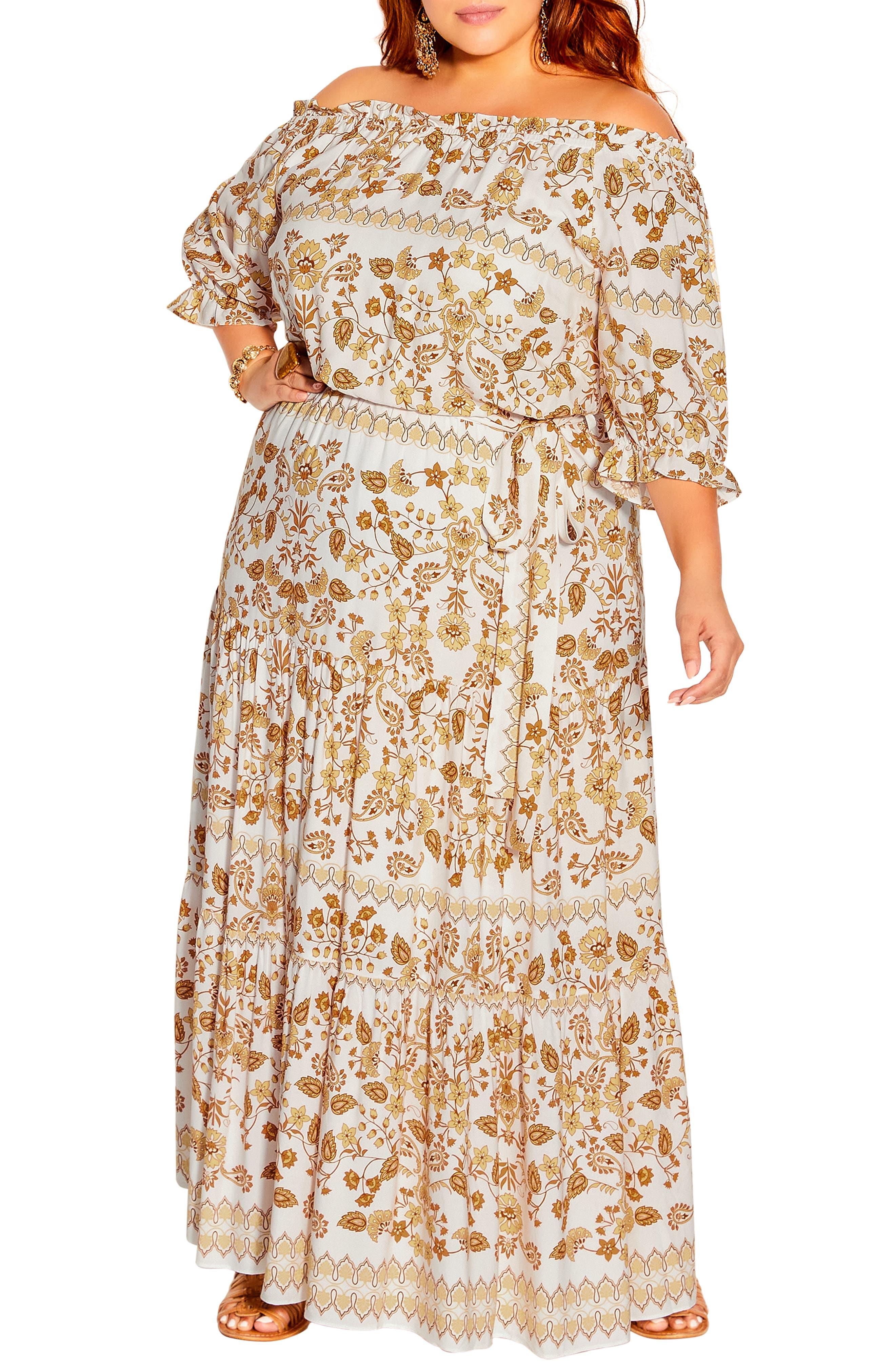 70s Dresses – Disco Dress, Hippie Dress, Wrap Dress Plus Size Womens City Chic Nisha Floral Maxi Dress Size XX-Small - White $129.00 AT vintagedancer.com