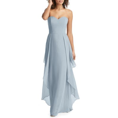 Social Bridesmaids Strapless Sweetheart Neck Chiffon Gown, 8 (similar to 1) - Blue
