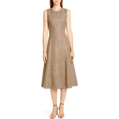 Polo Ralph Lauren Windowpane Plaid Sleeveless Cotton & Linen Dress, Brown