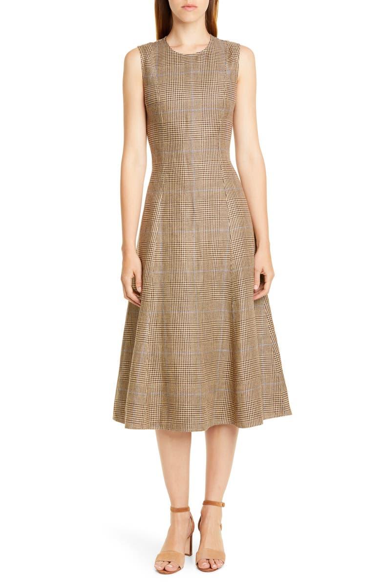 POLO RALPH LAUREN Windowpane Plaid Sleeveless Cotton & Linen Dress, Main, color, 200