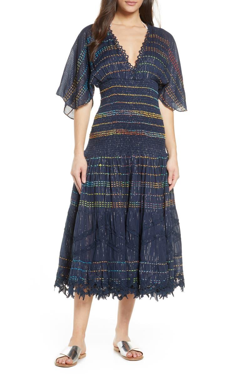 HEMANT & NANDITA Smocked Stripe Cover-Up Dress, Main, color, 400