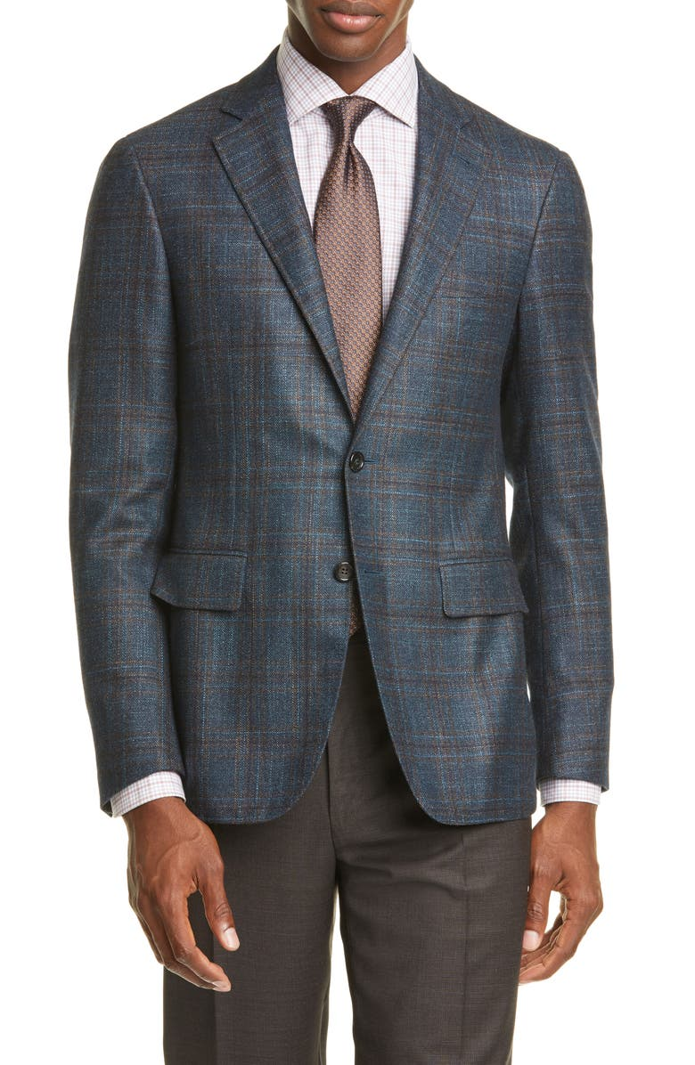 CANALI Kei Classic Fit Plaid Wool Sport Coat, Main, color, GREEN