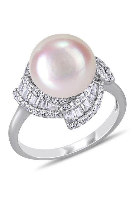 Image of Delmar Sterling Silver 10.5 -11mm Freshwater Cultured Pearl CZ Fashion Ring