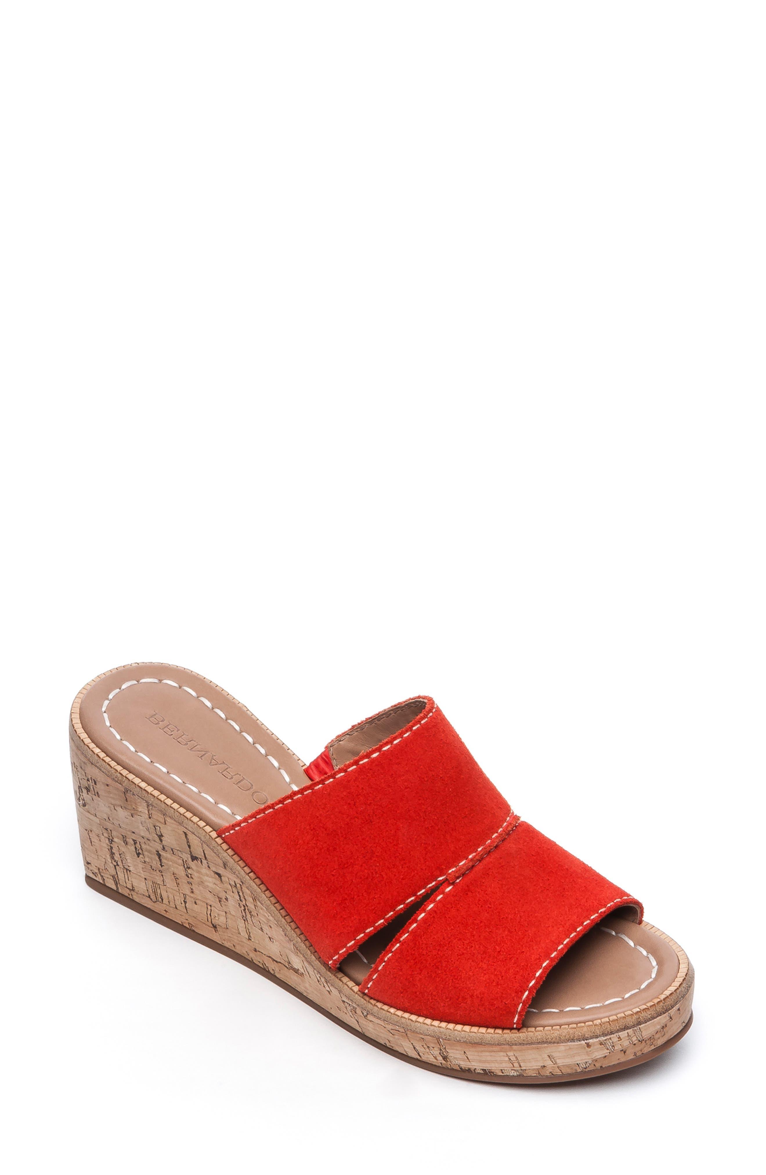 Bernardo Kami Platform Wedge Slide Sandal, Red