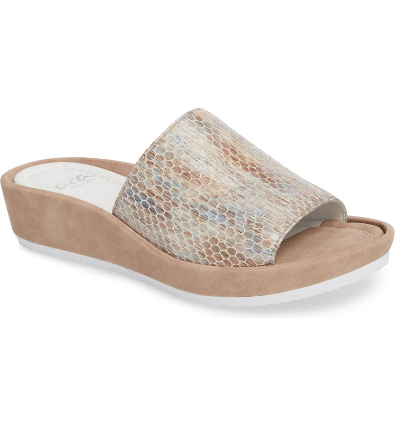 ARA Tania Platform Wedge Slide Sandal, Main, color, TAUPE MAMBA LEATHER