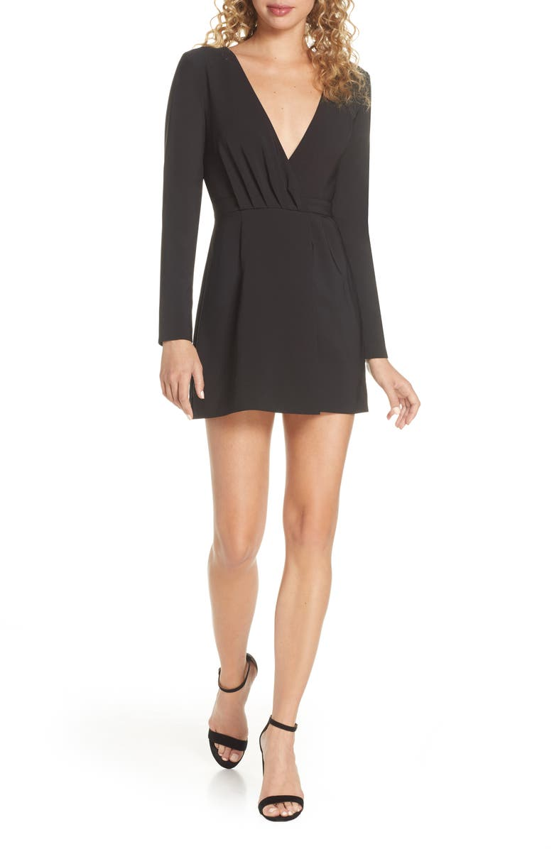 FINDERS KEEPERS Victoria Long Sleeve Minidress, Main, color, BLACK
