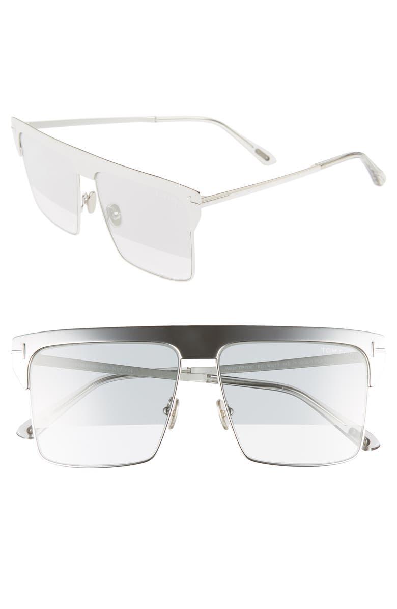 TOM FORD West 59mm Rectangular Sunglasses, Main, color, 040
