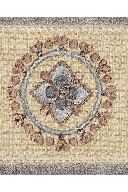 Image of LINUM HOME Turkish Cotton Geometric Design Wash Cloth - Dark Grey - Set of 2