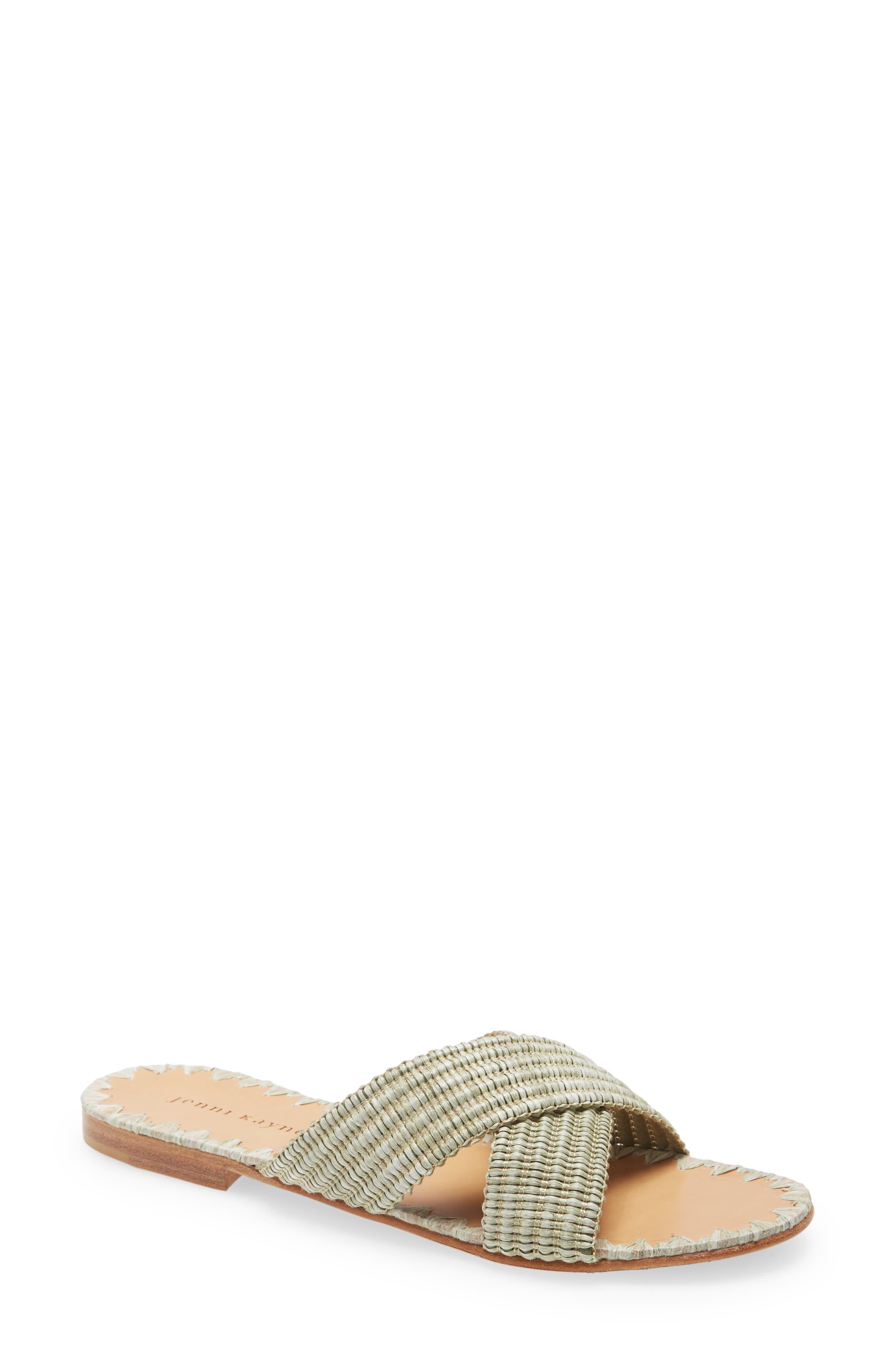 Raffia Cross Strap Slide Sandal