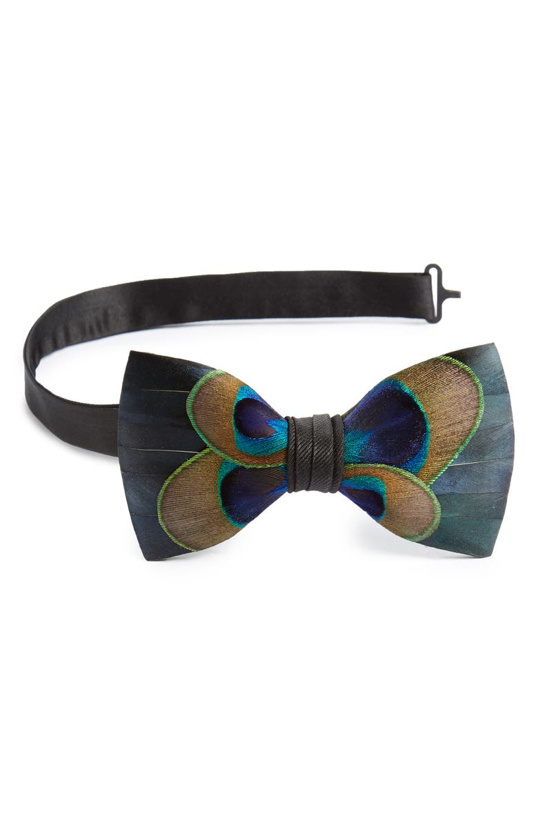 BRACKISH & BELL Aberdeen Feather Bow Tie, Main, color, BLUE