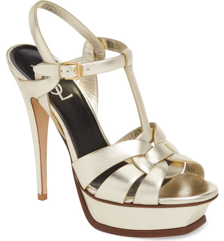 SAINT LAURENT Tribute Metallic Platform Sandal, Main, color, PALE GOLD/ GOLD