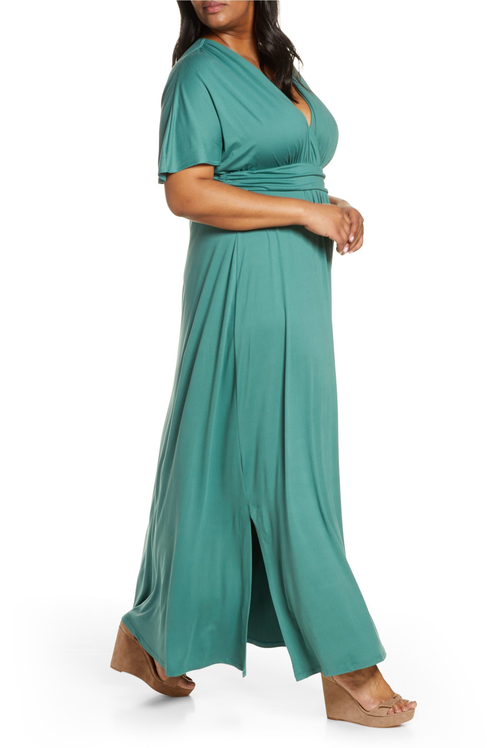 Kiyonna Vienna V Neck Maxi Dress (Plus Size) | Nordstrom