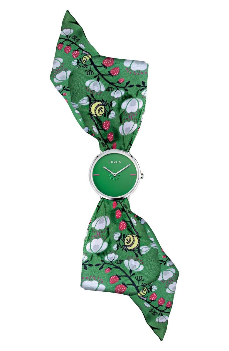 FURLA Giada Bandeau Silk Wrap Watch, 33mm, Main, color, 300
