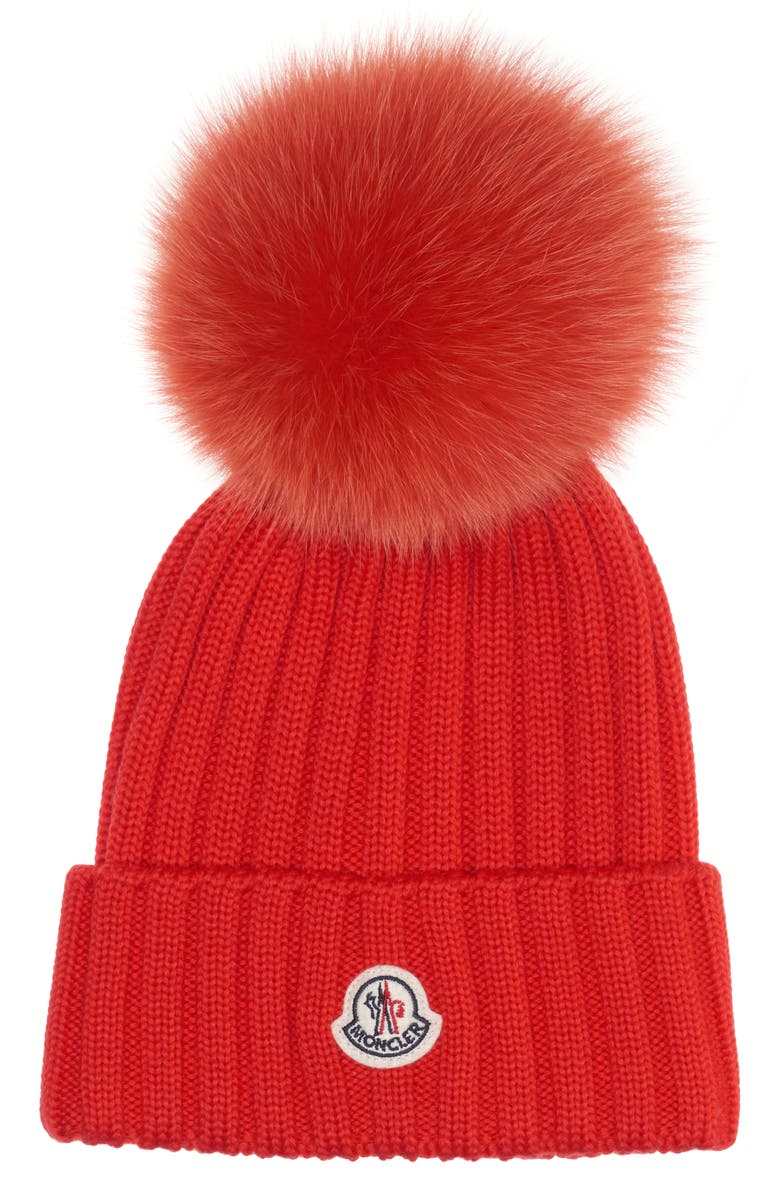 MONCLER Genuine Fox Fur Pom Rib Wool Beanie, Main, color, RED