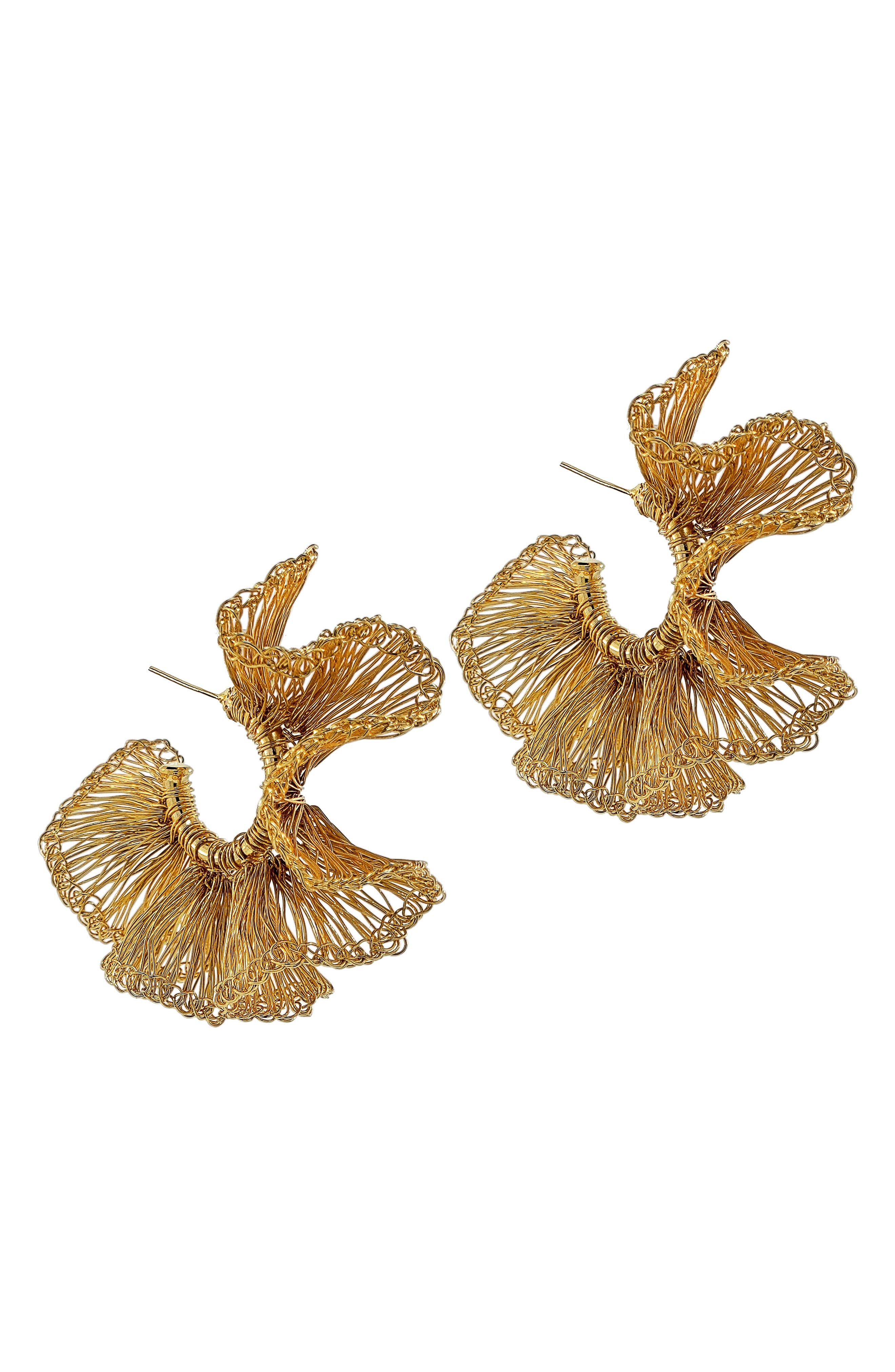 Small Ruffle Hoop Earrings