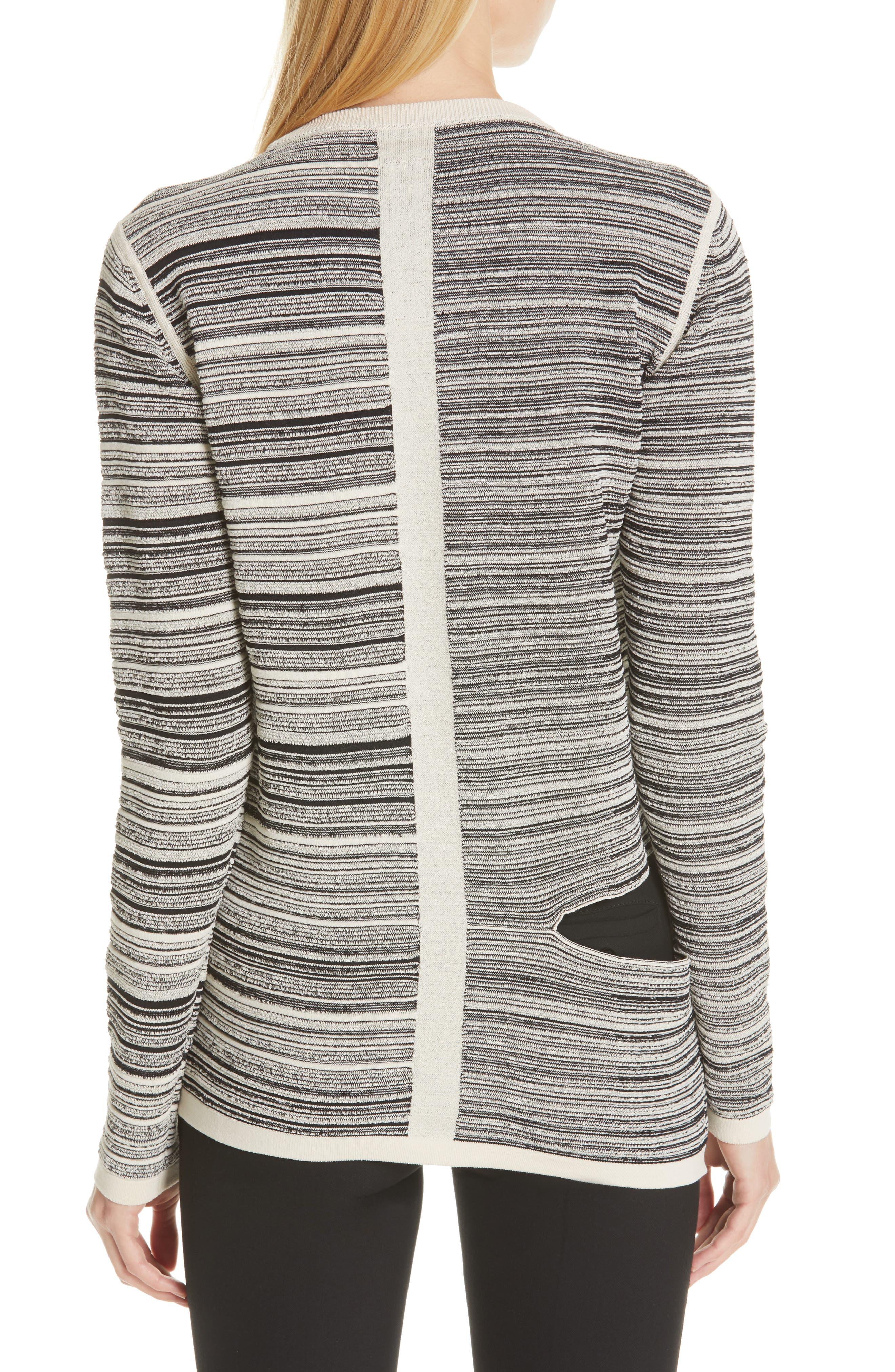 ,                             Split Stripe Shred Detail Cotton Blend Sweater,                             Alternate thumbnail 2, color,                             BLACK NATURAL
