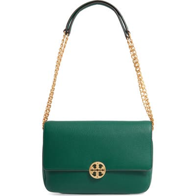 Tory Burch Chelsea Leather Shoulder/crossbody Bag - Green