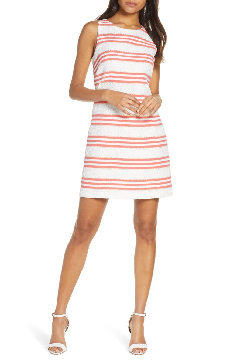 VINCE CAMUTO Stripe Jacquard Dress, Main, color, 100
