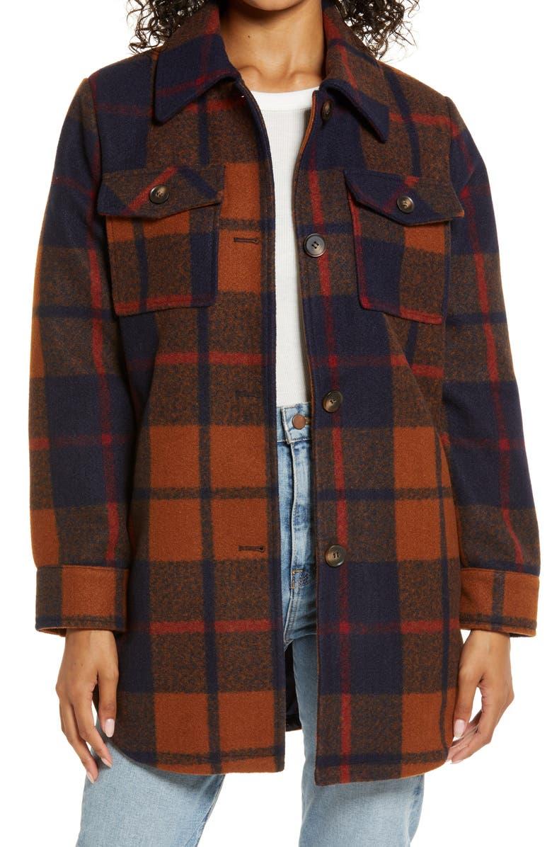 TREASURE & BOND Button Front Plaid Shirt Jacket, Main, color, 410