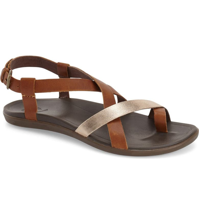 OLUKAI 'Upena' Flat Sandal, Main, color, GOLD LEATHER