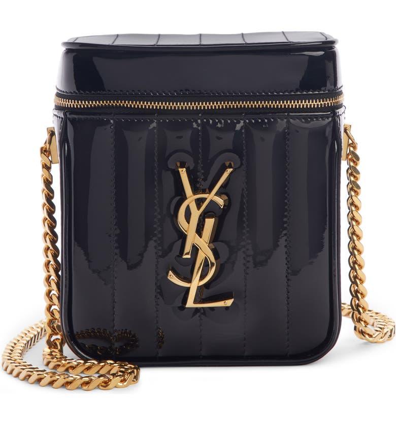 SAINT LAURENT Vicky Patent Leather Vanity Case Crossbody Bag, Main, color, NOIR