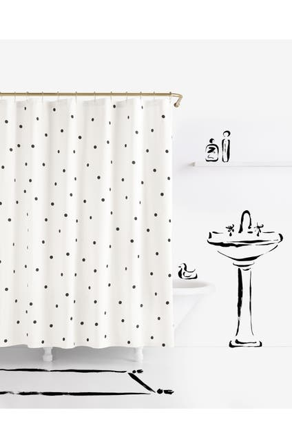 Image of kate spade new york deco dot shower curtain - white