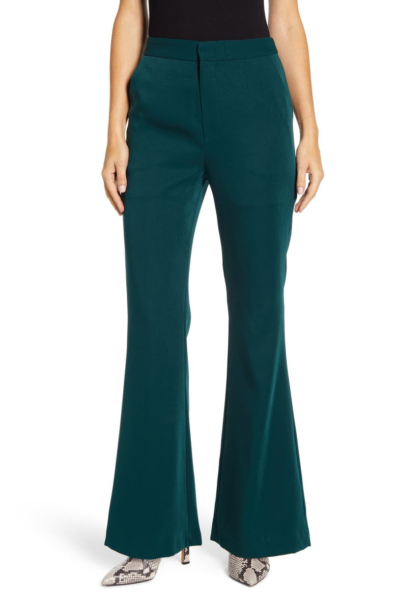 ENDLESS ROSE Bootcut Pants, Main, color, GREEN