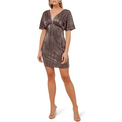 Astr The Label Metallic Plunge Neck Dolman Sleeve Minidress, Black