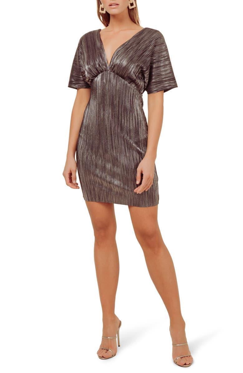 ASTR THE LABEL Metallic Plunge Neck Dolman Sleeve Minidress, Main, color, 001