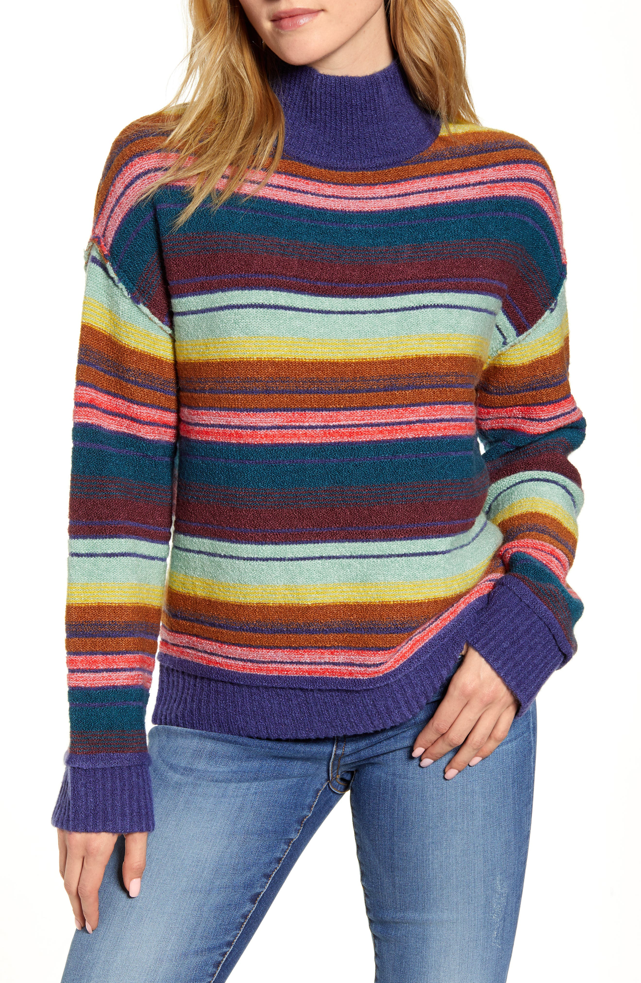 Caslon® Mock Neck Stripe Sweater