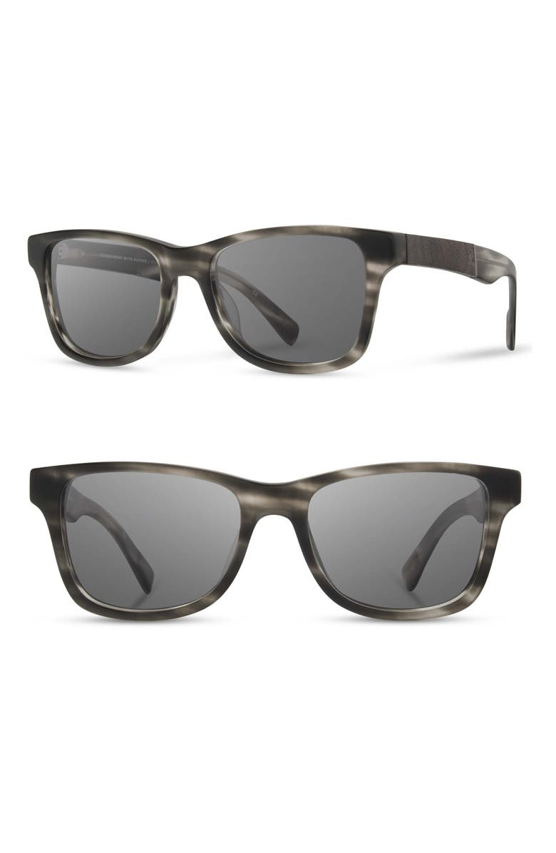 SHWOOD 'Canby' 54mm Acetate & Wood Sunglasses, Main, color, MATTE GREY/ ELM/ GREY
