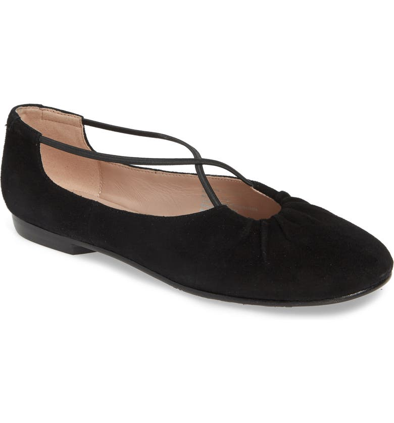 TARYN ROSE COLLECTION Alessandra Ballet Flat, Main, color, BLACK SUEDE