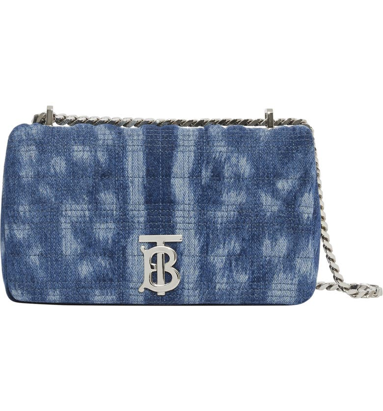 BURBERRY Small Lola Quilted Denim Shoulder Bag, Main, color, BLUE