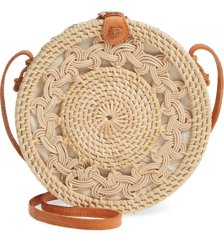 STREET LEVEL Woven Rattan Circle Crossbody Bag, Main, color, 200