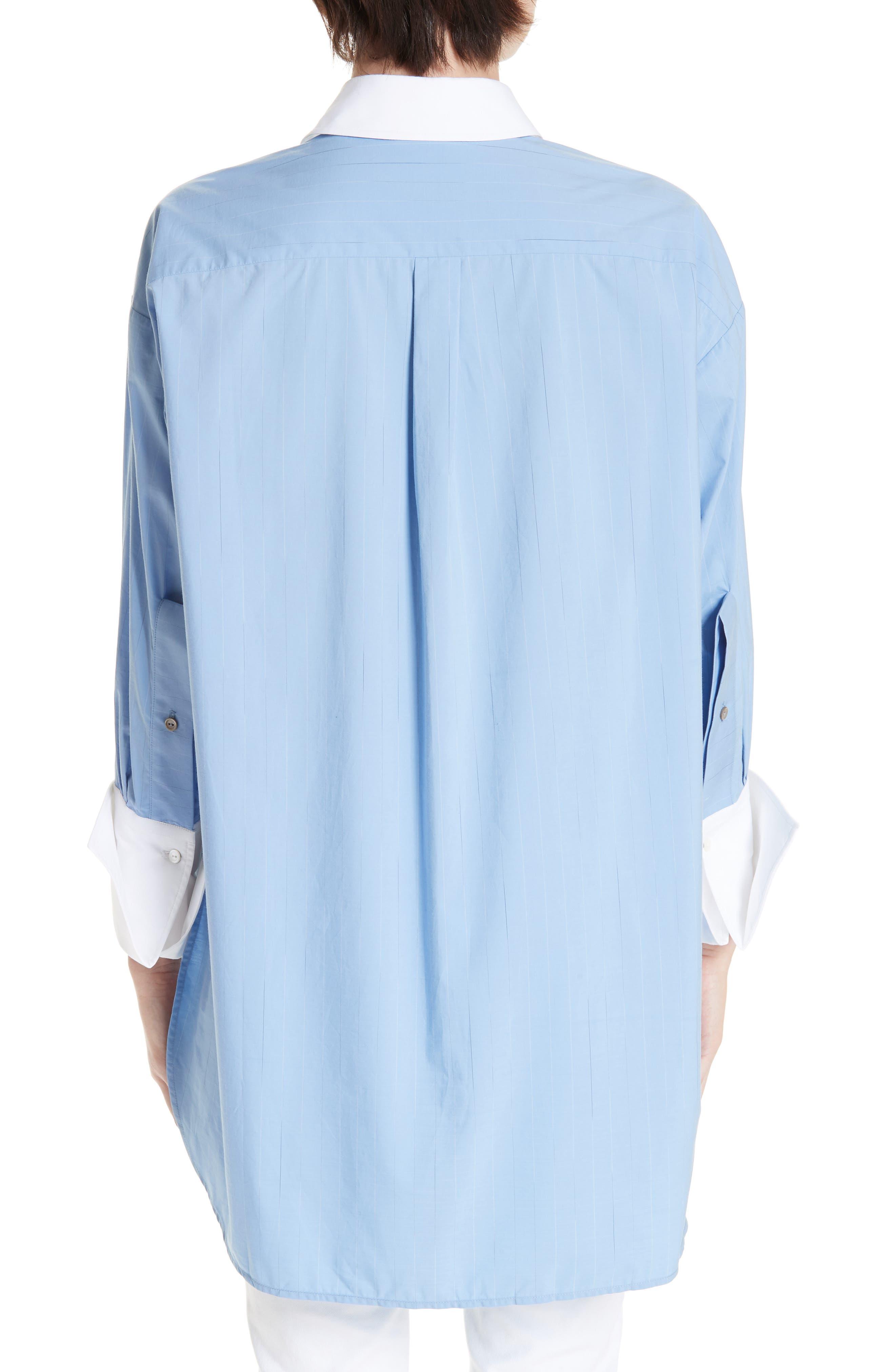 ,                             Oversize Boyfriend Shirt,                             Alternate thumbnail 2, color,                             BLUE RAIN STRIPE WITH WHITE