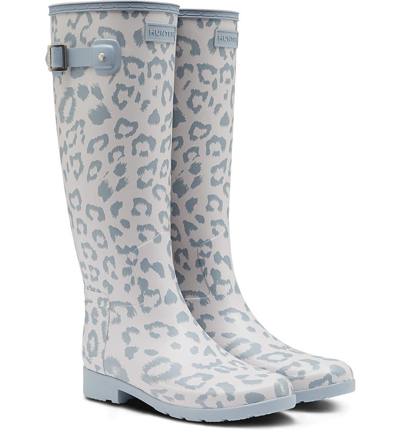 HUNTER Original Leopard Print Refined Tall Waterproof Rain Boot, Main, color, 020