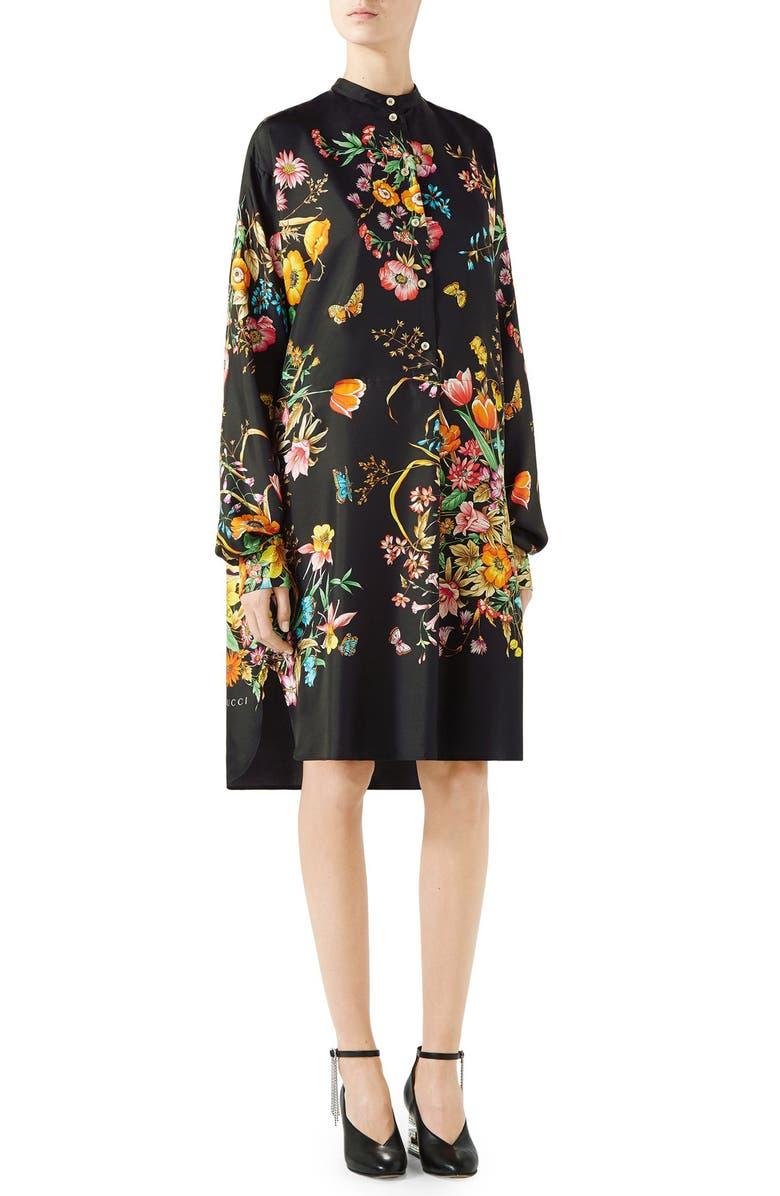 GUCCI Floral Print Silk Shirtdress, Main, color, BLACK PRINT