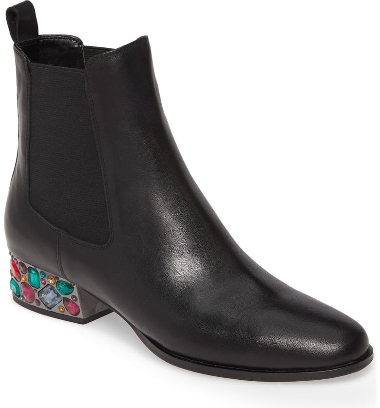 ALLEGRA JAMES Blake Crystal Heel Chelsea Boot, Main, color, BLACK LEATHER