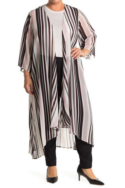 Image of philosophy 3/4 Length Stripe Print High-Low Duster