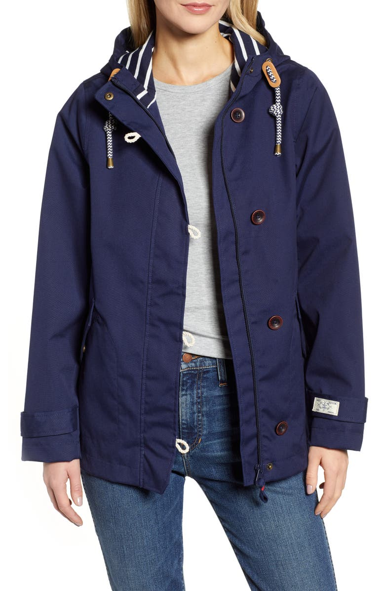 JOULES Coast Waterproof Hooded Jacket, Main, color, FRENCH NAVY