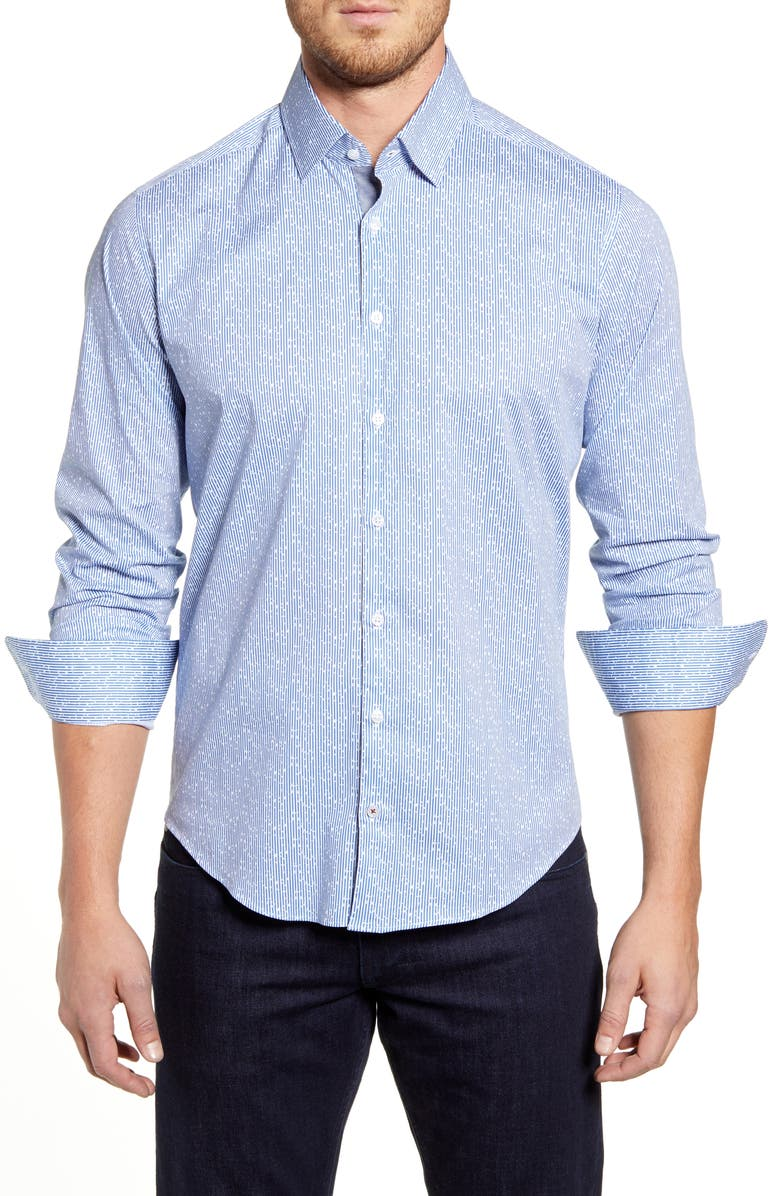 STONE ROSE Regular Fit Floral Stripe Button-Up Sport Shirt, Main, color, BLUE