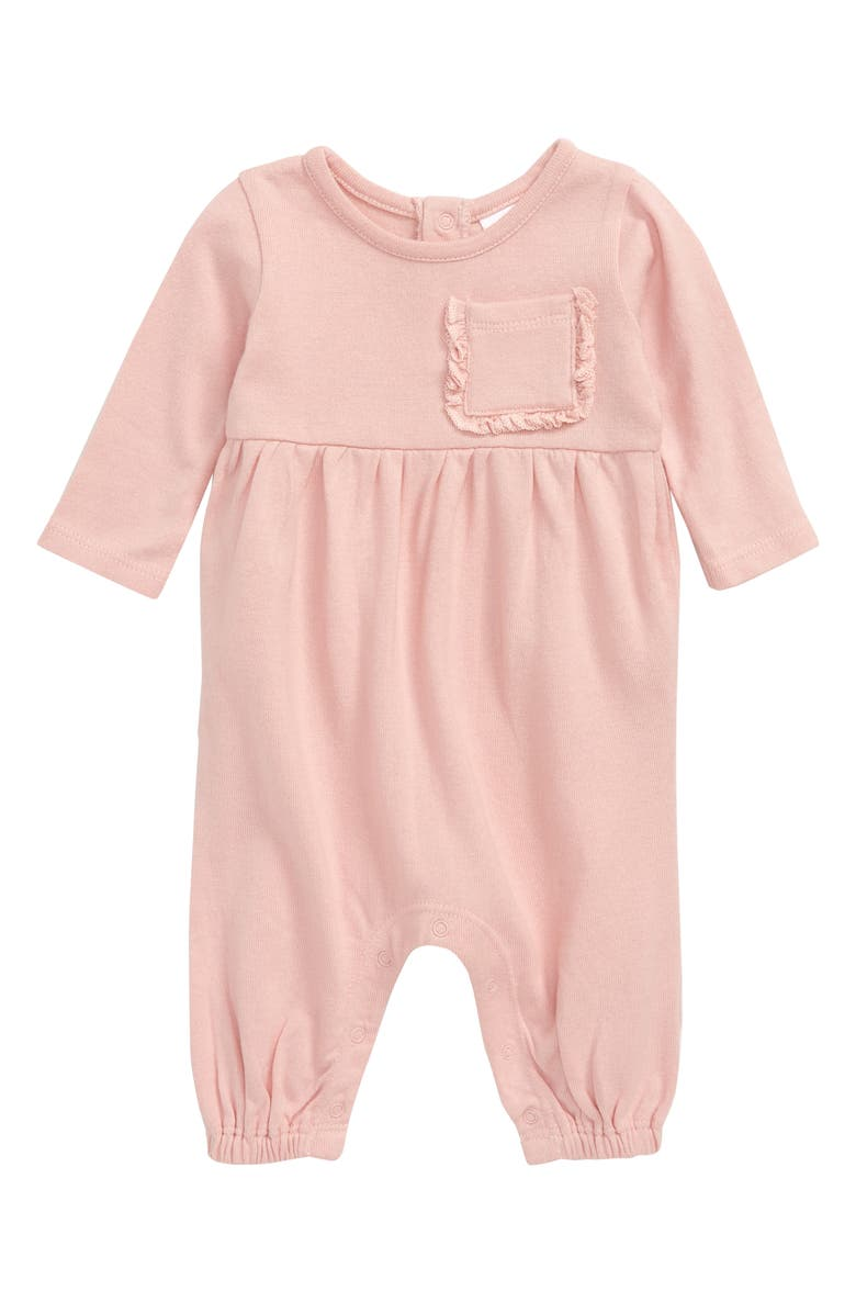 NORDSTROM BABY Ruffle Pocket Cotton Romper, Main, color, PINK SILVER