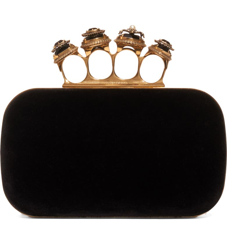 ALEXANDER MCQUEEN Knuckle Leather Box Clutch, Main, color, BLACK