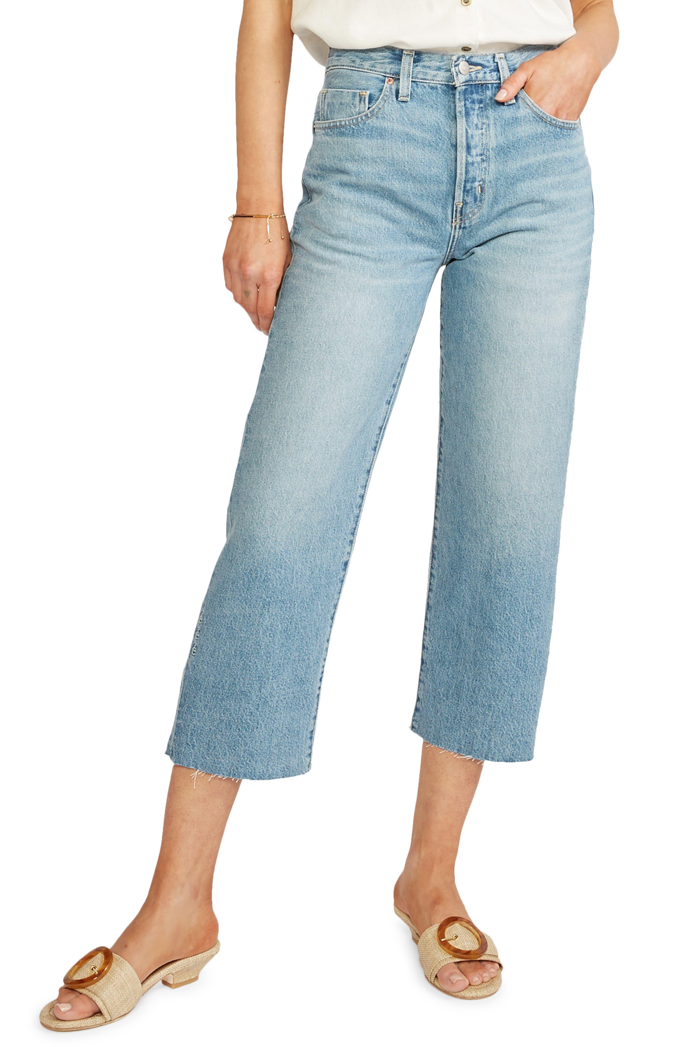 Women's Etica Tyler High Waist Raw Hem Straight Leg Ankle Jeans