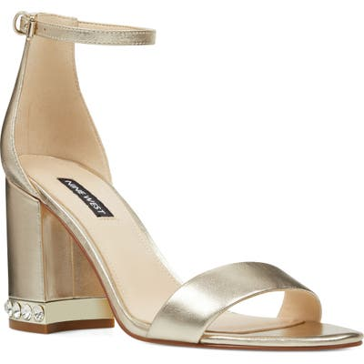 Nine West Abigail Crystal Embellished Ankle Strap Sandal, Metallic