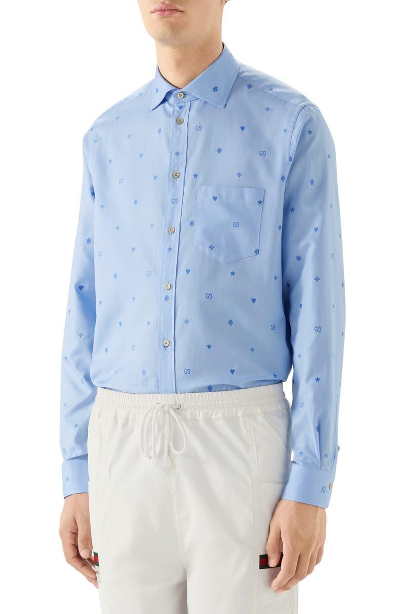 GUCCI Symbols Fil Coupé Cotton Button-Up Shirt, Main, color, BLUE