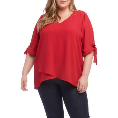 Plus Size Karen Kane Bow Sleeve Top, Red